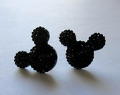 Big Mickey Mouse Disney Inspired Black Rhinestone Post Earrings
