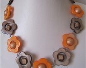 Orange and brown sea shell short necklace
