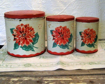 Kitchen Tin Canister Set - Mid Century Dahlia Flower Cluster Red Top