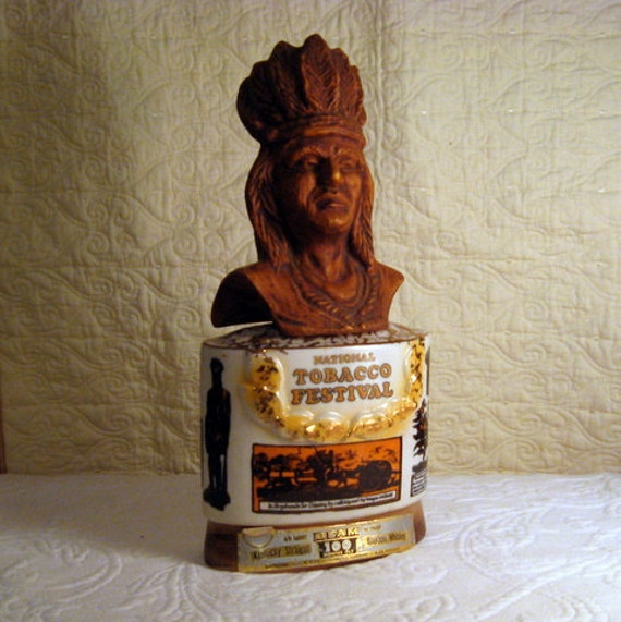 Jim Beam National Tobacco Festival 1973 Indian Chief Whiskey