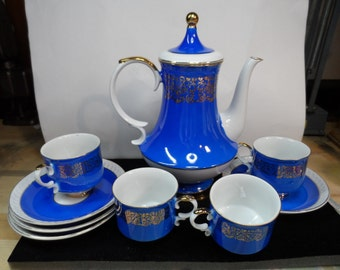 Royal Crown, Arnart, Alhambra, Royal Blue Coffee Pot and 4 Cups/Saucer Sets