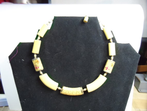 Yellow Bead Necklace Made In Japan, decorated with Butterflies