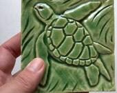 Sea Turtle Art Tile in Emerald Green