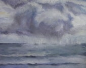 Seascape: Abstract contemporary oil on Canvas, gray blue, clouds, stormy sea, moody, team 247 - Warm afternoon showers