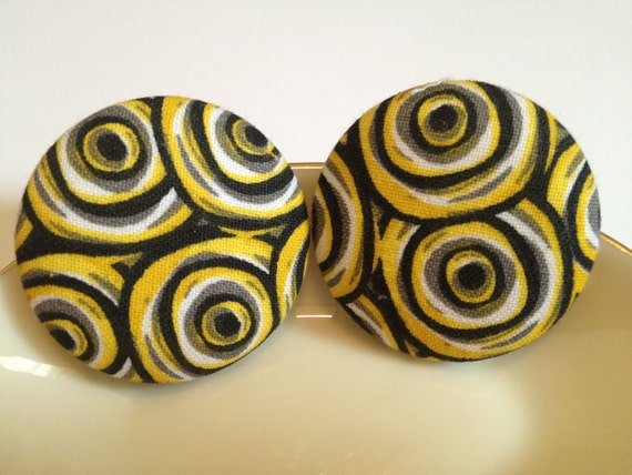 Oversize Button Earring- Black and Yellow