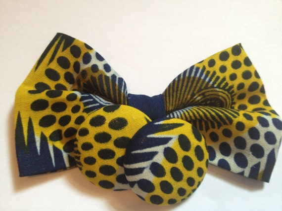 African Wax Print Handmade Bow and Button Earring Set