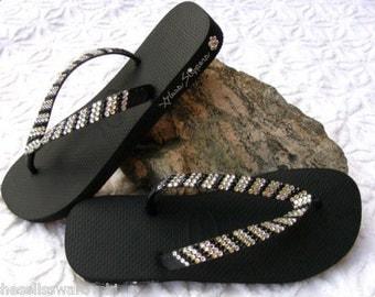 Custom Crystal Flip Flops Pin Stripe Thongs Havaianas flat or Cariris 1.5 Wedge heel w/ Swarovski Rhinestone Jewel Wedding Beach Thong Shoes