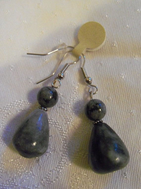 Gray Marbled Stone Drop Earrings With Snowflake Obsidian