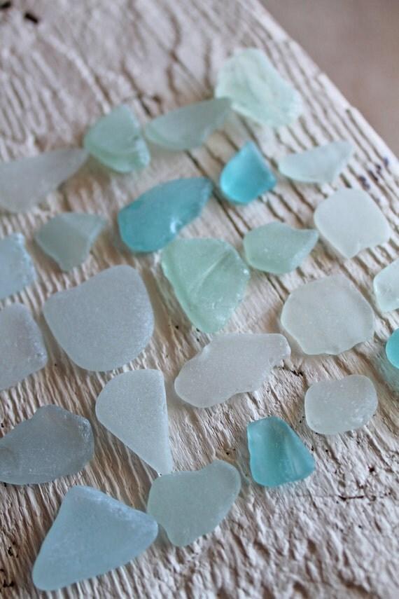 Sea Glass - 25 Medium Size Light Blue Pieces, Beach Glass