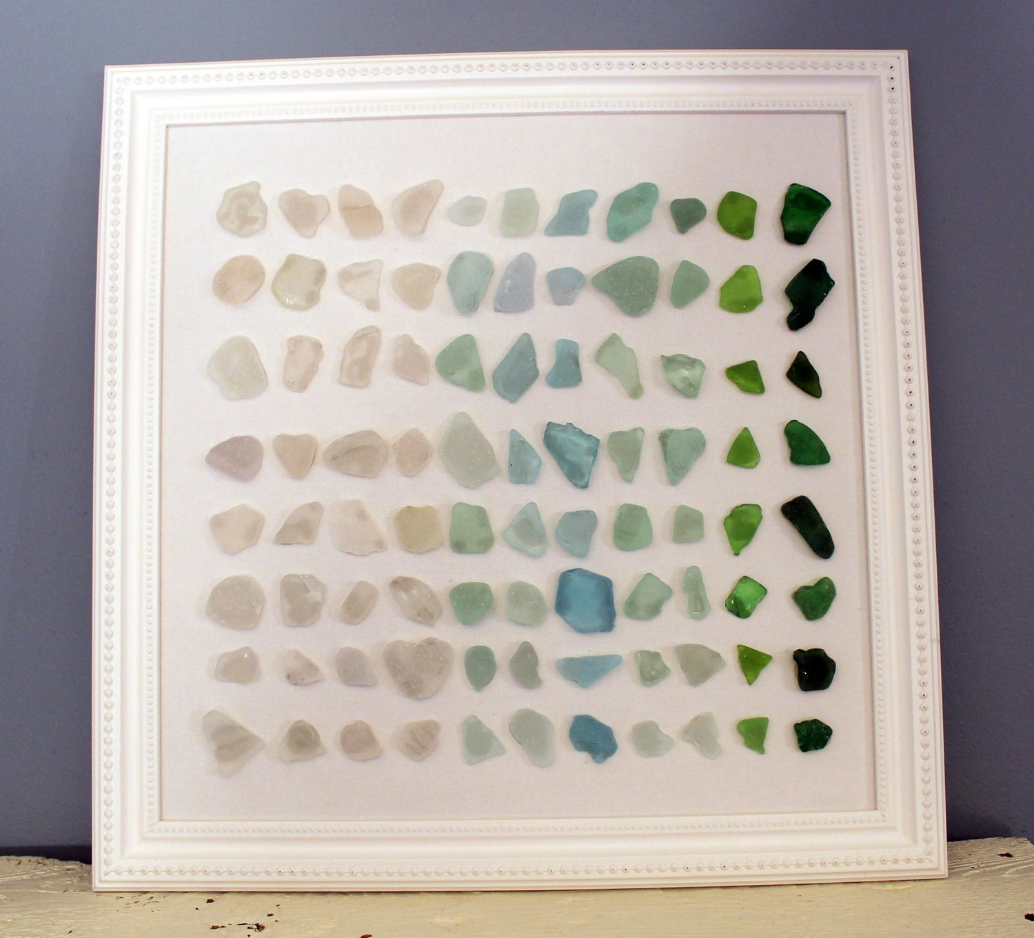 Wall Art Glass Framed : Sea glass beach art in white frame