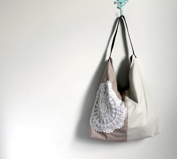 Slouch, Handbag, latte and cream linen, vintage doily bag, tote