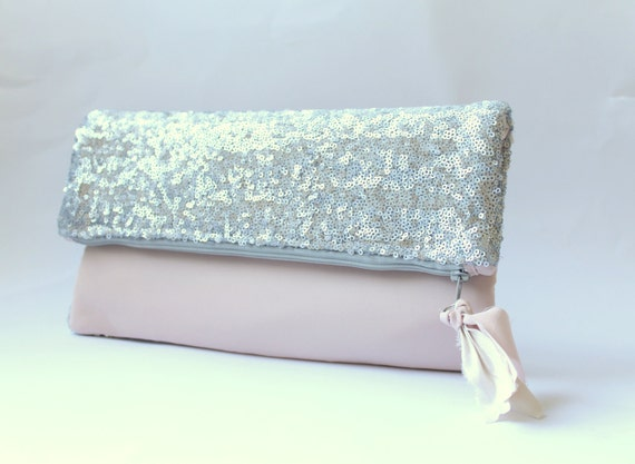 Pretty in pink, evening bag, fold over clutch purse, silver sequins