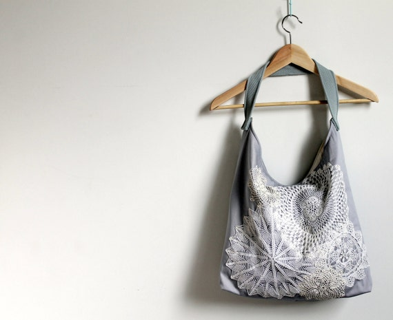 Slouch style,  shoulder bag, tote, grey/mauve, vintage doilies and lace
