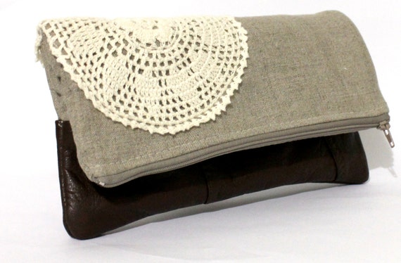 Fold over clutch, linen and vintage brown leather, vintage doily