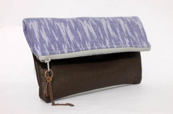 Fold over clutch, ikat and vintage brown leather,  by Amaya Handmade