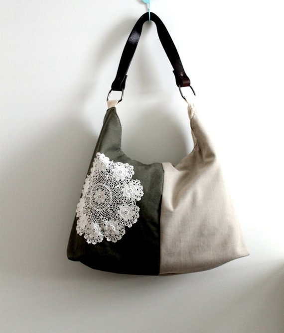 Slouch style, shoulder bag, tote, beige linen and khaki canvas with vintage doily