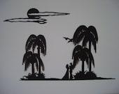 "Paper Cutting,  paper cut art,  paper cuts original,  Modern Art,  title:  ""Honeymoon"""