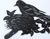 "Paper cut art original, mothers day gift, bird and nest, size 8""x11"""