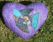Valentines children decor, appliqued bird pillow, purple heart cotton cushion, Sale 15% off, children room decor.