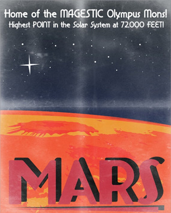 Retro Sci-Fi Mars Travel Poster - 8x10 Print