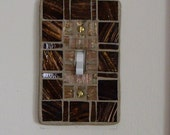 Mosaic Brown and Gold Light Switch Plate Cover