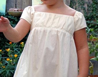 Girls Organic Cotton Cream Empire Waist Dress, Long SIZE M/L