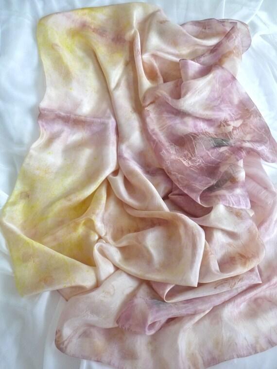 Silk fabric 230 x 114 cm pastels, habotai paj,   naturally eucalyptus dyed colourfast fine silk