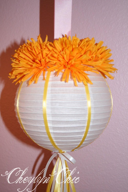 Orange Flower Paper Lantern Small
