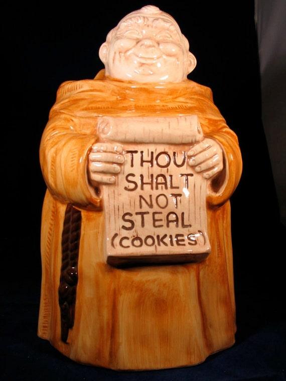 """Treasure Craft Monk Cookie Jar  Vintage 1968 """"Thou Shalt Not Steal Cookies"""""""