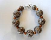 Tigre leopard brown beads bracelet from polymer clay fimo