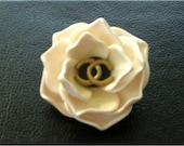 White flower camellia brooch from polymer clay