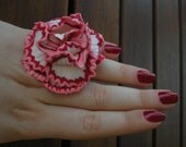 Carnation flower ring from polymer clay fimo white with red and pink handmade