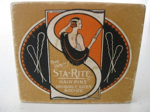 vintage. HAIR PINS. original box. BRONZE. small. 1920s.