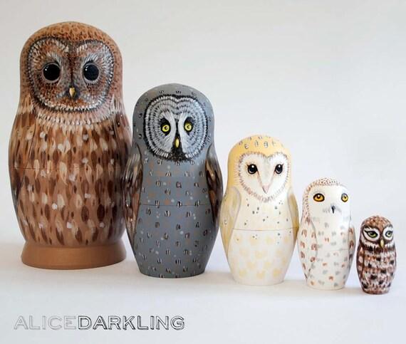 Russian Nesting Dolls Owls Owl Nesting Dolls Matryoshka