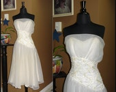 Silver Screen Siren / Vintage Off-White Strapless Asymmetrical Party Dress / Small / 27.5 inch Waist