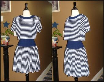 Vintage 1990s Dress / FRENCH PASTRY / Nautical Blue and White Striped / New Old Stock / Small / Medium