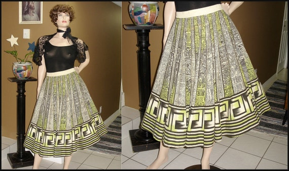 "Killer 1950s Hand Painted Mexican Circle Skirt / Aztec Design / Black off white and Mint Green / Large / 31"" Waist"