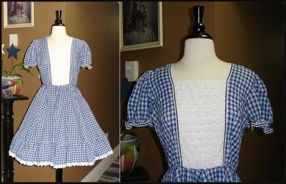 DO SI DO / 1950s 1960s Blue White Plaid Square Dance Dress / Full Circle Skirt / Medium