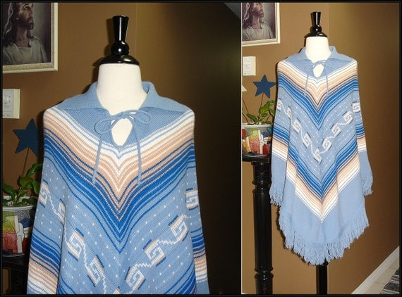 1970s or early 1980s / Blue Tan and White Poncho with Collar and Tie & Bottom Fringe / Small / Medium