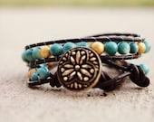 Goldish Turq Leather Wrap Bracelet - free shipping