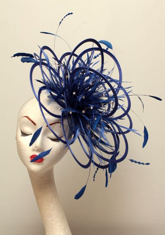 Items similar to Large Royal Blue Diamante Feather ...