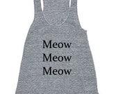 Meow Meow Meow American Apparel Rackerback Tank Tri-Blend Atheltic Gray Tank available in XS, S, M, L - rabbitandeye