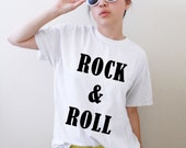 Rock & Roll American Apparel Unisex Men Woman White Tshirt  available in sizes XS, S, M, L, XL, 2XL and colors