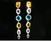 Earring Rainbow- amethyst, citrine, topaz and rock crystal