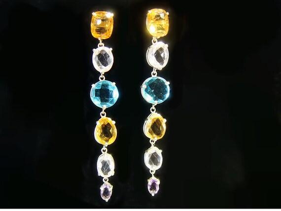 Earring Rainbow- amethyst, citrine, topaz and rock crystal