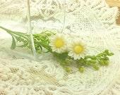 Pure White Mini Sunflower Gerbera Daisy Flower Post Stud Earrings  Summer Beach. Hot Items.  Spring Summer. Gifts for Her.