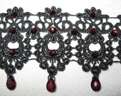 Black Lace,  faceted garnet and Burgundy Crystal Choker