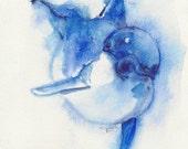 Dolphin, original, watercolor, animal art, OOAK