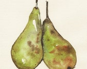 Two Pears, Original watercolor painting, Food art, Home decor, Art for the kitchen, Still live.