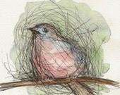 Little bird on a branch, Original work, mixed media.